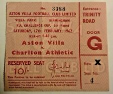 More details for aston villa v charlton athletic match ticket f.a. cup 5th round 17/2/1962.