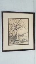 Signed Charcoal Twisted Tree Drawing Framed 19x16