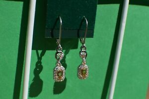1.03ct Imperial Topaz / Zircon Leverback Earrings Platinum over Fine Silver