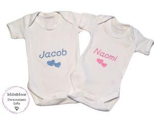 Personalised Babygro Bodysuit Vest New Baby Shower Gift Sleepsuit Embroidered