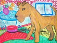 IRISH TERRIER in the Attic Pop Art Print 8 x 10 Signed by KSAMS Dog Collectible