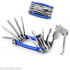 11 in 1 Multi Function Cycling Repair Tool Wrench Screwdriver Chain Cutter-Blue