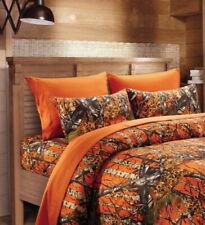 Orange Camo Twin, Queen or King Sheet Set : Hunters Tree Camouflage Woods Cabin