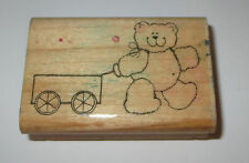 Teddy Bear Rubber Stamp Pulling Wagon D.O.T.S. Wood Mounted