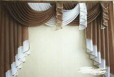 Deko-Gardine, Vorhang , Querbehang, braun/weiss, 1,80 m breit