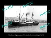 OLD HISTORIC PHOTO UNION STEAM SHIP Co OF NEW ZEALAND THE HAUPIRI c1910