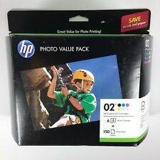 HP Printer Ink 02 Photo Value Pack 6x Inks 150x Paper Q7964AN SEALED Exp 09/2017