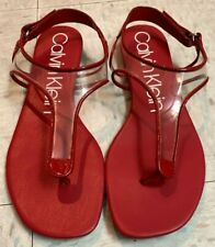 calvin klein womens  shilo sandals color Red