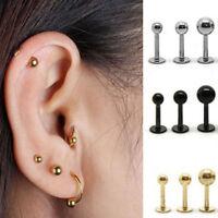 Cy_ BL_ Women Punk Barbell Ear Cartilage Helix Tragus Stud Earring Bar Piercing