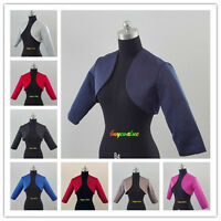 Short Satin Shawl Bolero Wedding Jacket Bridal 3/4 Sleeve evening dress jacket-G