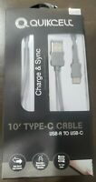 Quikcell Charge & Sync USB A TO USB C for Galaxy LG SAMSUNG MOTOROLA NOTE 8 9 10