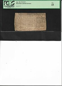 Maryland Colonial Currency Apr. 10, 1774 $1/3 Fine 15