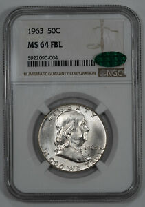 1963 FRANKLIN HALF DOLLAR 50C NGC & CAC MS 64 FBL UNC - FULL BELL LINES (004)