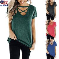 Women's Short Sleeve T Shirt Criss Cross Front V Neck Tunic Top Casual Blouse US