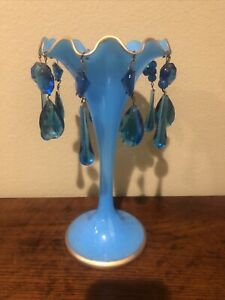 FRENCH BLUE OPALINE GLASS VASE WITH HANGING CRYSTALS ANTIQUE LATE 1800's