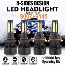 4 Sides Combo 9007 HB5 LED Headlight+9145 Fog Lights For Jeep Liberty 2002-2007