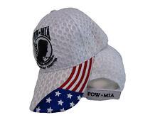 POW MIA USA American Flag POWMIA Textured Mesh White Embroidered Cap Hat