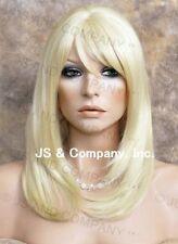 HUMAN HAIR Blend Medium Straight Light Pale BLonde Wig Heat safe WBMN 613
