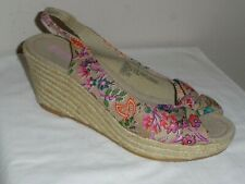 Mossimo Womens Womens Multi Color Canvas Slingback Espadrille Wedge Sandal-9.5M