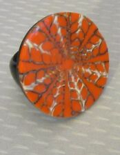70s vtg mod pop LAMINATED PLASTIC RING sz 8 big orange psychedelic spiderweb