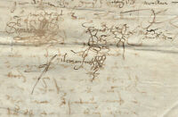 1559 king LOUIS XIII royal notary manuscript AMAZING MEDIEVAL SIGNATURES 2 Damag