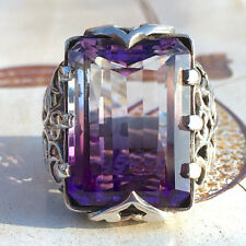 Retro Turkish Handmade Amethyst Crystal Stainless Steel Men's Ring Jewelry NEW
