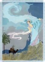 "Original Vintage Erte Art Decp Print ""Sandstorm"" Fashion Book Plate"