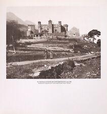 STAMPA FOTO ALINARI, IL CASTELLO DI FENIS NEI DINTORNI DI NUX, inizi '900