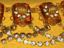 vintage couture runway necklace earring Miriam Haskell amber Valentines sale