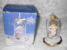 1994 Enesco Precious Moments Dropping in For Christmas Girl Figure Glass Bell