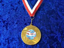 Set of 10 Swimming Medals on Ribbons Gala Club Sponsor Swimathon Charity Event