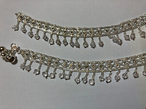 NEW ARRIVAL22CT *SILVER N1* PLATED INDIAN PAK PAIR OF ANKLET PAYAL LAYERED CHAIN