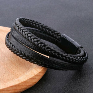 Magnetic Stainless Steel Mens Leather Wrist Braided Bracelet Wristband Bangle