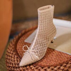 Womens Ankle Boots Bowknot Mesh Geometric Print Pointed Toe Fashion Heels Zipper