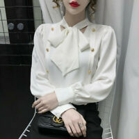2021 New Spring Womens Long Sleeve Bow Tie Button Chiffon Loose Shirt Blouse Top