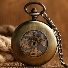 Retro Bronze Smooth Case Hollow Automatic Mechanical Pocket Watch Pendant Chain