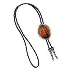 Natural Tiger Eye Stone Bolo Ties Western Cowboy Men's Necktie Bootlace Tie