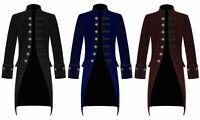 Men Velvet FROCK COAT Gothic Victorian Jacket Steampunk Pirate Vampire