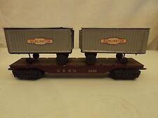 O Marx #5545 C,B&Q flat car with Burlington  trailers