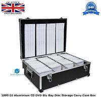 1 x Neo Media 1000 Capacity DJ Aluminium BLACK CD DVD Carry Case Box Partitioned