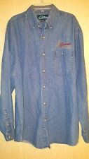 "Curves For Women XL-2XL Blue Jean Shirt Embroidered Logo Bust 48"" Long Sleeves"