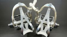 Campagnolo Record Pista Track Pedal set w/ Campy clips and Leather straps.