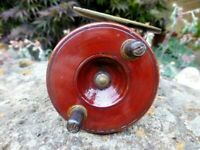 VINTAGE 3inch CEDAR - BRASS ENG. FISHING REEL Early 1900s V.G.C. Free Post Aust.