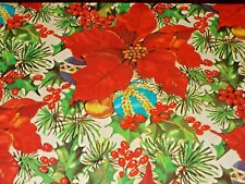 New ListingVtg Christmas Wrapping Paper Gift Wrap 1960 Poinsettia Ornaments Holly Nos