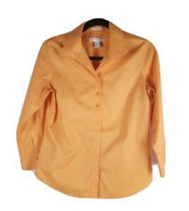 Chicos Button Down Blouse Women Size 0 Orange
