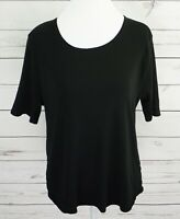 Time And Tru Top Womens Large L Black Solid Short Sleeve Curved Hem 100% Cotton