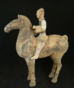 Antique Chinese Qing Dynasty period hand carved soapstone horse sculpture with old men rider