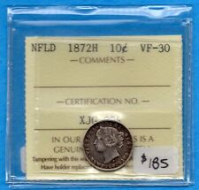 Canada Newfoundland 1872 H 10 Cents Ten Cent Silver Coin - ICCS VF-30
