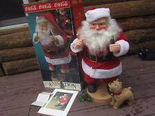 "Coca-Cola Animated Shhh! Santa w/ Poseable Dog & 8x10"" Collectible Print 1991"