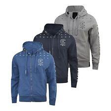Mens Crosshatch Zipped Zunite Casual Hooded Logo Top Hoody Sweatshirt Jacket